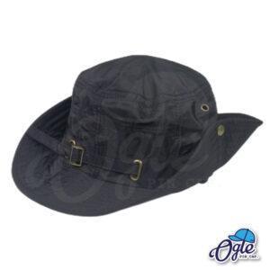 หมวกเดินป่า หมวกปีกกว้าง หมวกปีกรอบ กันแดด หมวกมีเชือก สีดำ ติดกระดุมปีกหมวก