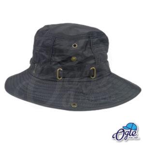 หมวกเดินป่า หมวกปีกกว้าง หมวกปีกรอบ กันแดด หมวกมีเชือก สีน้ำดำ