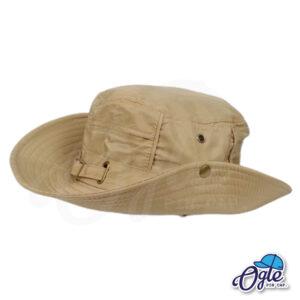 หมวกเดินป่า หมวกปีกกว้าง หมวกปีกรอบ กันแดด หมวกมีเชือก สีน้ำตาล ติดกระดุมปีกหมวก
