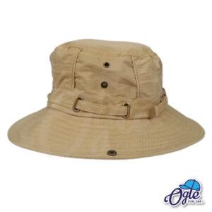 หมวกเดินป่า หมวกปีกกว้าง หมวกปีกรอบ กันแดด หมวกมีเชือก สีน้ำตาล