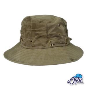 หมวกเดินป่า หมวกปีกกว้าง หมวกปีกรอบ กันแดด หมวกมีเชือก สีน้ำเขียว