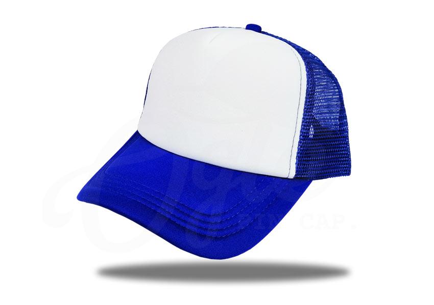 ประเภทของหมวก-หมวกแก๊ป-หมวกตาข่าย-สีน้ำเงิน-หน้าขาว