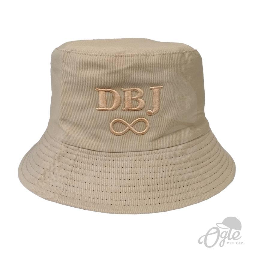 หมวกบักเก็ต-สีน้ำตาลอ่อน-ปักนูน-ปัก-3D-ปักชื่อ-DBJ