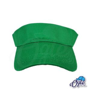 หมวกวิ่ง-หมวกใส่วิ่ง-หมวกครึ่งใบ-หมวกเปิดหัว-หมวกไวเซอร์-หมวก visor-สีเขียว-ด้านหน้า