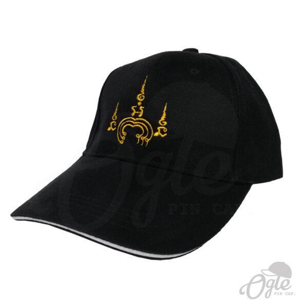 หมวกแก๊ป-ปักยันต์-ปักชื่อด้านหลัง-หมวกผ้าพีช-แซนวิส-ด้านข้าง