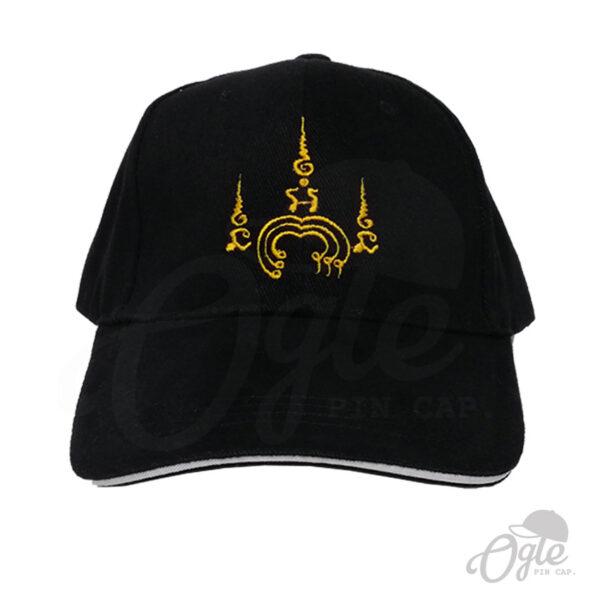 หมวกแก๊ป-ปักยันต์-ปักชื่อด้านหลัง-หมวกผ้าพีช-แซนวิส-ด้านหน้า