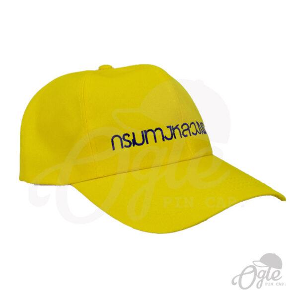 หมวกแก๊ป-ผ้าดีวาย-สีเหลือง-ปักชื่อ-กรมทางหลวงชนบท-ด้านข้างขวา