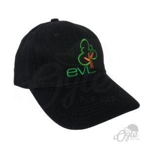 หมวกแก๊ป-หมวกผ้าพีช-สีดำ-cotton-100-ปักโลโก้-ELV-ด้านข้างขวา
