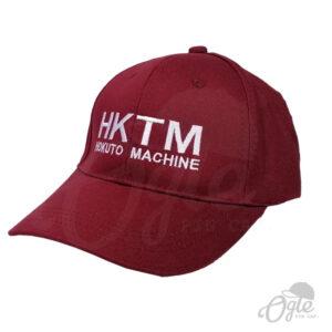 หมวกปักชื่อ-หมวกแก๊ป-ผ้าพีช-cotton-สีเลือดหมู-ปักชื่อ-HKTM-ด้านข้าง