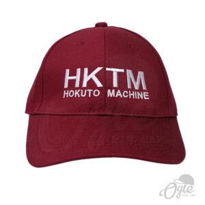 หมวกปักชื่อ-หมวกแก๊ป-ผ้าพีช-cotton-สีเลือดหมู-ปักชื่อ-HKTM-ด้านหน้า