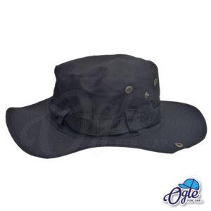 หมวกเดินป่า-วินเทจ-หมวกปีกทหาร-หมวกปีก กว้าง-หมวกปีกรอบ-กันแดด-สีดำ