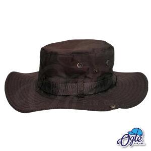 หมวกเดินป่า-วินเทจ-หมวกปีกทหาร-หมวกปีก กว้าง-หมวกปีกรอบ-กันแดด-สีน้ำตาลเข้ม