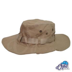 หมวกเดินป่า-วินเทจ-หมวกปีกทหาร-หมวกปีก กว้าง-หมวกปีกรอบ-กันแดด-สีน้ำตาล