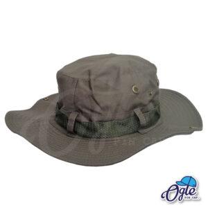 หมวกเดินป่า-วินเทจ-หมวกปีกทหาร-หมวกปีก กว้าง-หมวกปีกรอบ-กันแดด-สีเขียวทหาร