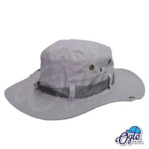 หมวกเดินป่า-วินเทจ-หมวกปีกทหาร-หมวกปีก กว้าง-หมวกปีกรอบ-กันแดด-สีเทา