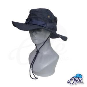 หมวกเดินป่า-วินเทจ-หมวกปีกทหาร-หมวกปีก กว้าง-หมวกปีกรอบ-หมวกมีเชือก-กันแดด-สีกรมท่า
