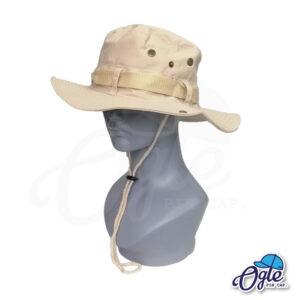หมวกเดินป่า-วินเทจ-หมวกปีกทหาร-หมวกปีก กว้าง-หมวกปีกรอบ-หมวกมีเชือก-กันแดด-สีครีม