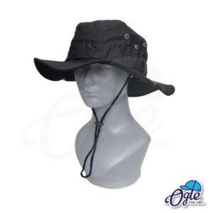 หมวกเดินป่า-วินเทจ-หมวกปีกทหาร-หมวกปีก กว้าง-หมวกปีกรอบ-หมวกมีเชือก-กันแดด-สีดำ
