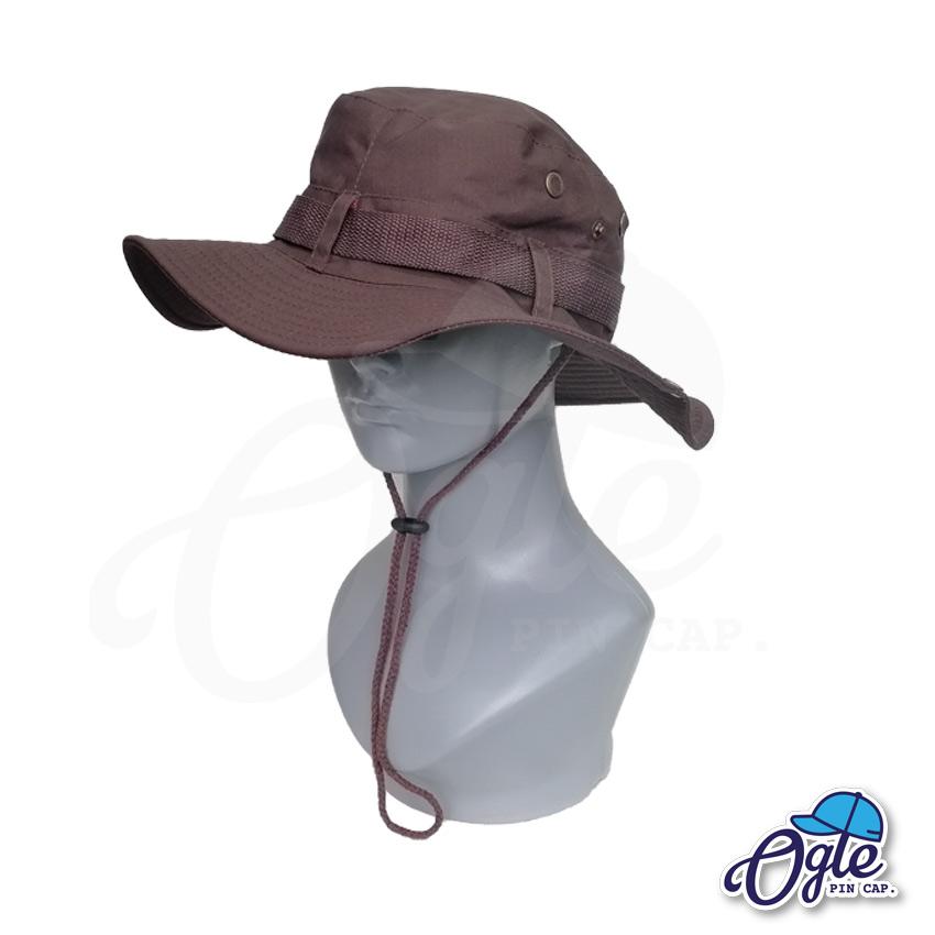 หมวกเดินป่า-วินเทจ-หมวกปีกทหาร-หมวกปีก กว้าง-หมวกปีกรอบ-หมวกมีเชือก-กันแดด-สีน้ำตาลเข้ม
