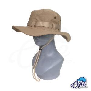 หมวกเดินป่า-วินเทจ-หมวกปีกทหาร-หมวกปีก กว้าง-หมวกปีกรอบ-หมวกมีเชือก-กันแดด-สีน้ำตาล