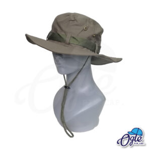 หมวกเดินป่า-วินเทจ-หมวกปีกทหาร-หมวกปีก กว้าง-หมวกปีกรอบ-หมวกมีเชือก-กันแดด-สีเขียวทหาร