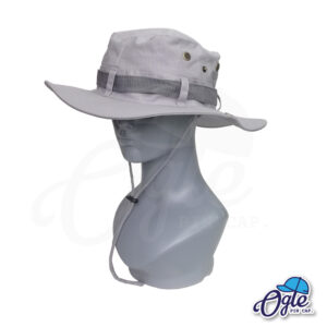หมวกเดินป่า-วินเทจ-หมวกปีกทหาร-หมวกปีก กว้าง-หมวกปีกรอบ-หมวกมีเชือก-กันแดด-สีเทา