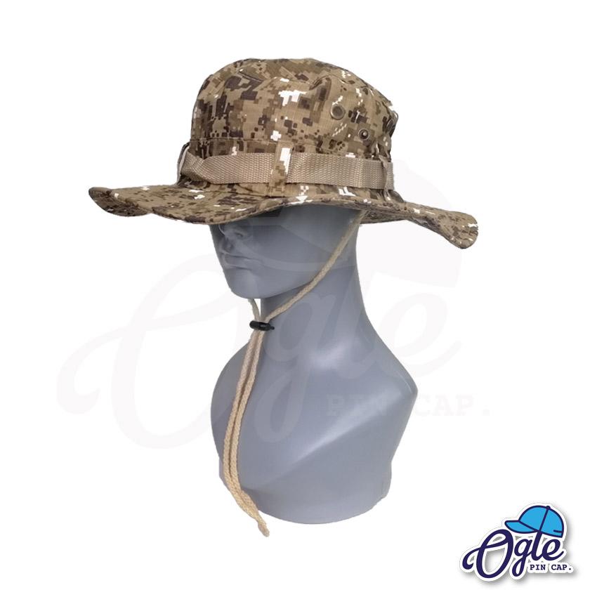 หมวกเดินป่า-หมวกลายพราง-ดิจิตอล-หมวกปีกทหาร-หมวกปีก กว้าง-หมวกปีกรอบ-หมวกมีเชือก-น้ำตาล