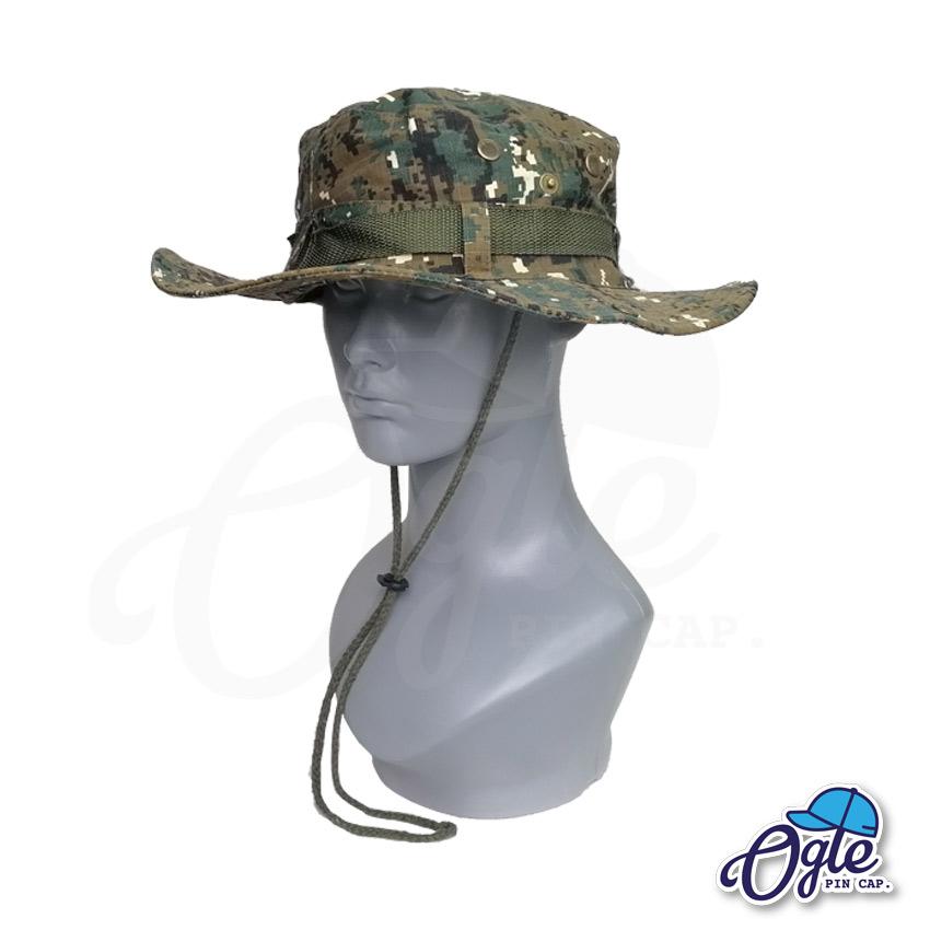 หมวกเดินป่า-หมวกลายพราง-ดิจิตอล-หมวกปีกทหาร-หมวกปีก กว้าง-หมวกปีกรอบ-หมวกมีเชือก-สีเขียว
