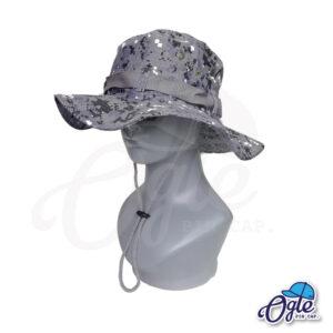 หมวกเดินป่า-หมวกลายพราง-ดิจิตอล-หมวกปีกทหาร-หมวกปีก กว้าง-หมวกปีกรอบ-หมวกมีเชือก-สีเทา