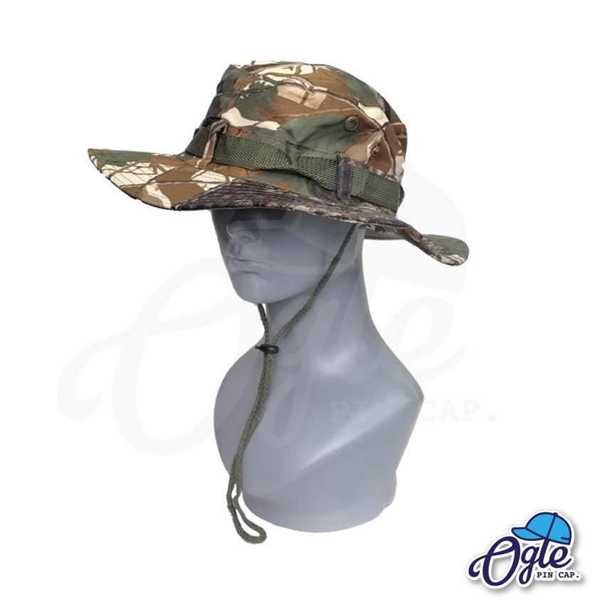 หมวกเดินป่า-หมวกลายพราง-ใบไม้-หมวกปีกทหาร-หมวกปีก กว้าง-หมวกปีกรอบ-หมวกมีเชือก-สีน้ำตาล-01
