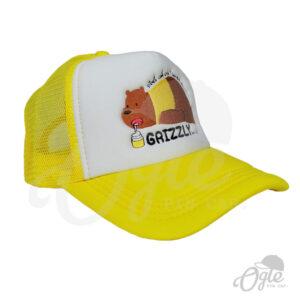 หมวกตาข่าย-สีเหลือง-ปักโลโก้-Grizzly-lazzy-bear-ข้างขวา