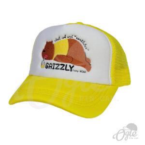 หมวกตาข่าย-สีเหลือง-ปักโลโก้-Grizzly-lazzy-bear-ข้างซ้าย