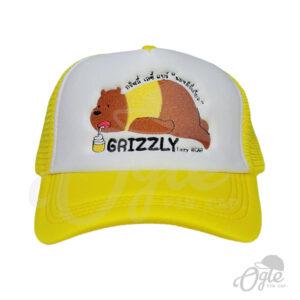 หมวกตาข่าย-สีเหลือง-ปักโลโก้-Grizzly-lazzy-bear-ด้านหน้า