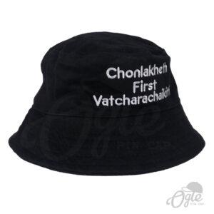 หมวกบักเก็ต-สีดำ-ปักชื่อ-ข้อความ3บรรทัด-ด้านขวา