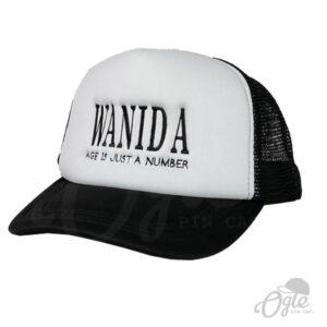 หมวกตาข่าย-สีดำ-หมวกปักชื่อ-Wanida-ด้านข้าง