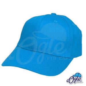 หมวกแก๊ป-ผ้าพีช-สีฟ้า-ด้านซ้าย-ตัวล็อคบัคเคิ้ลเหล็ก