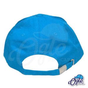 หมวกแก๊ป-ผ้าพีช-สีฟ้า-ด้านหลัง-ตัวล็อคบัคเคิ้ลเหล็ก