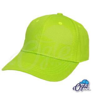 หมวกแก๊ป-ผ้าพีช-สีเขียวมะนาว-ด้านซ้าย-ตัวล็อคบัคเคิ้ลเหล็ก
