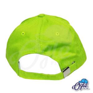 หมวกแก๊ป-ผ้าพีช-สีเขียวมะนาว-ด้านหลัง-ตัวล็อคบัคเคิ้ลเหล็ก