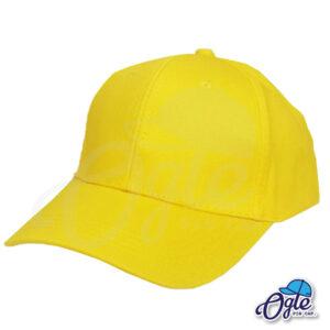 หมวกแก๊ป-ผ้าพีช-สีเหลือง-ด้านซ้าย-ตัวล็อคบัคเคิ้ลเหล็ก