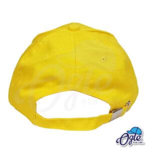 หมวกแก๊ป-ผ้าพีช-สีเหลือง-ด้านหลัง-ตัวล็อคบัคเคิ้ลเหล็ก
