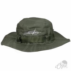 หมวกเดินป่า-วินเทจ-สีเขียว-มีเชือก-หมวกปักชื่อ-หมวกปีกรอบ