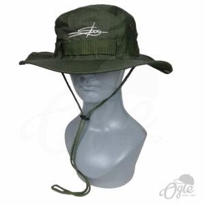 หมวกเดินป่า-วินเทจ-สีเขียว-มีเชือก-หมวกปักชื่อ-หุ่นสวมหมวก