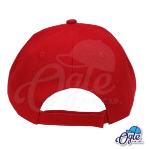 หมวกแก๊ป-สีแดง-ผ้าชาลี-ด้านหลัง
