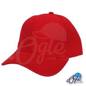 หมวกแก๊ป-สีแดง-ผ้าชาลี-เอียงข้าง