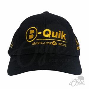 หมวกผ้าพีช-สีดำ-ปักโลโก้-B-Quik-ด้านหน้า-ปัก3ตำแหน่ง